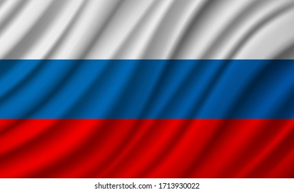 Russia Flag Vector Closeup Illustration