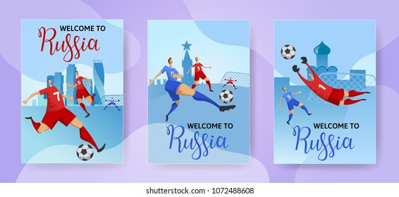 Russia. Football players on Russian cityscape background. Soccer invitation. Set of vertical posters with lettering. Flat vector illustration.