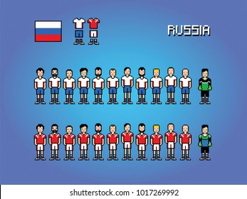 Russia football team soccer player uniform pixel art game illustration