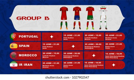 Russia football tournament calendar. Group B schedule table with date time and city location. Template for soccer match result in vector illustration