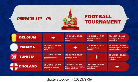 Russia football tournament calendar. Group G schedule table with date time and city location. Template for soccer match result in vector illustration
