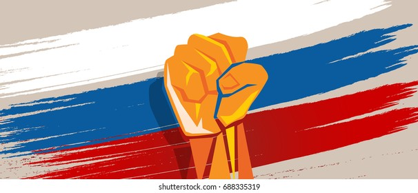 Russia hand fist revolution flag national patriotic fight