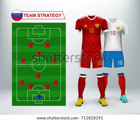 01af4f5b149 Russia home and away soccer jersey kit set on backdrop with team plan  strategy. Concept for RUS soccer uniform in Europe match tournament in  vector ...