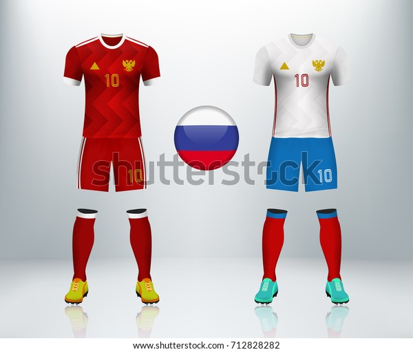 online store 507a8 38c65 Russia Home Away Soccer Jersey Kit Stock Vector (Royalty ...