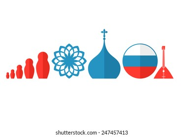 Russia. Icon set. Vector illustration