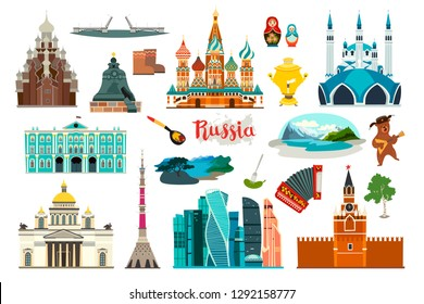 Russia icons set, flat cartoon style icon. Russian symbol. Cherch and museum. Matryoshka and bear balalaikas. Nature lake and mountains. The Kremlin and the drawbridge