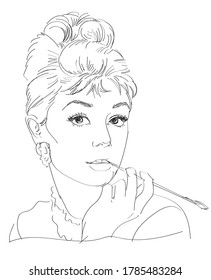 RUSSIA / JULY 23 2020 line portrait of Audrey Hepburn, vector illustration, a portrait of the modern American woman.Smoking mouthpiece