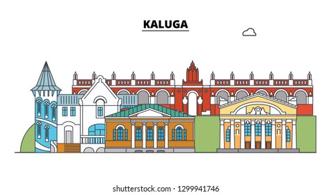 Russia, Kaluga. City skyline: architecture, buildings, streets, silhouette, landscape, panorama. Flat line, vector illustration. Russia, Kaluga outline design.