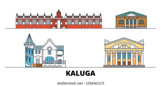 Russia, Kaluga flat landmarks vector illustration. Russia, Kaluga line city with famous travel sights, skyline, design.
