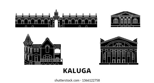 Russia, Kaluga flat travel skyline set. Russia, Kaluga black city vector illustration, symbol, travel sights, landmarks.
