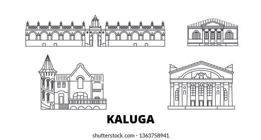 Russia, Kaluga line travel skyline set. Russia, Kaluga outline city vector illustration, symbol, travel sights, landmarks.