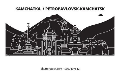 Russia, Kamchatka , Petropavlovsk-Kamchatsk. City skyline: architecture, buildings, streets, silhouette, landscape, panorama. Flat line, vector illustration.