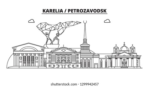 Russia, Karelia, Petrozavodsk. City skyline: architecture, buildings, streets, silhouette, landscape, panorama, landmarks. Flat design, line vector illustration concept. Isolated icons