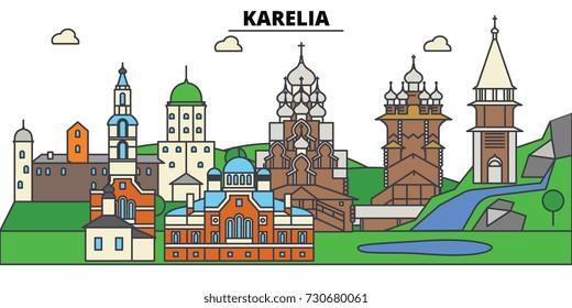 Russia, Karelia, Petrozavodsk. City skyline, architecture, buildings, streets, silhouette, landscape, panorama, landmarks. Editable strokes. Flat design line vector illustration concept.