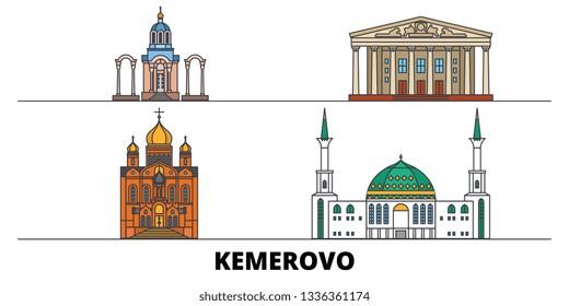 Russia, Kemerovo flat landmarks vector illustration. Russia, Kemerovo line city with famous travel sights, skyline, design.
