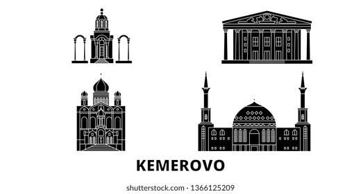 Russia, Kemerovo flat travel skyline set. Russia, Kemerovo black city vector illustration, symbol, travel sights, landmarks.
