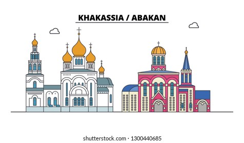 Russia, Khakassia, Abakan. City skyline: architecture, buildings, streets, silhouette, landscape, panorama. Flat line, vector illustration.