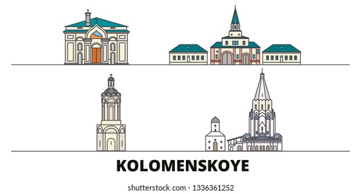 Russia, Kolomenskoye, Church Of The Ascension flat landmarks vector illustration. Russia, Kolomenskoye, Church Of The Ascension line city with famous travel sights, skyline, design.