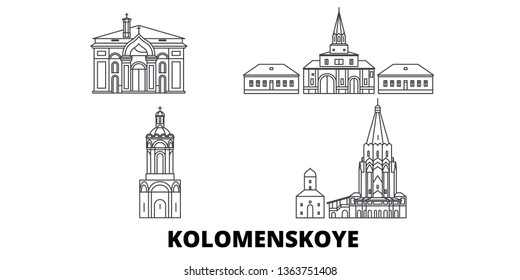 Russia, Kolomenskoye, Church Of The Ascension line travel skyline set. Russia, Kolomenskoye, Church Of The Ascension outline city vector illustration, symbol, travel sights, landmarks.