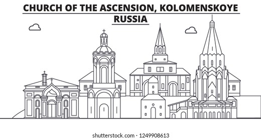 Russia - Kolomenskoye, Church Of The Ascension travel famous landmark skyline, panorama, vector. Russia - Kolomenskoye, Church Of The Ascension linear illustration