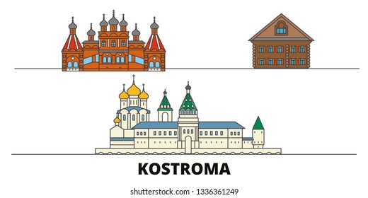 Russia, Kostroma flat landmarks vector illustration. Russia, Kostroma line city with famous travel sights, skyline, design.