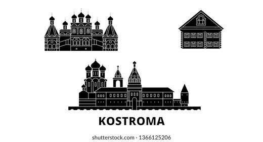 Russia, Kostroma flat travel skyline set. Russia, Kostroma black city vector illustration, symbol, travel sights, landmarks.