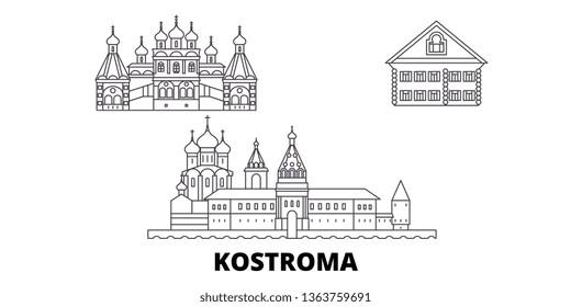 Russia, Kostroma line travel skyline set. Russia, Kostroma outline city vector illustration, symbol, travel sights, landmarks.