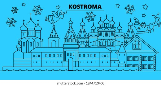 Russia, Kostroma winter holidays skyline. Merry Christmas, Happy New Year decorated banner with Santa Claus.Russia, Kostroma linear christmas city vector flat illustration