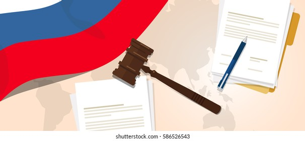 Russia law constitution legal judgment justice legislation trial concept using flag gavel paper and pen vector