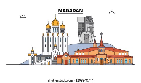 Russia, Magadan. City skyline: architecture, buildings, streets, silhouette, landscape, panorama. Flat line, vector illustration. Russia, Magadan outline design.