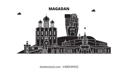 Russia, Magadan. City skyline: architecture, buildings, streets, silhouette, landscape, panorama. Flat line, vector illustration.