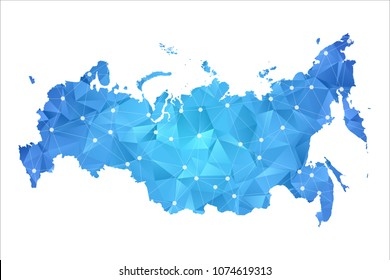 Russia Map - Abstract geometric rumpled triangular low poly style gradient graphic on white background , line dots polygonal design for your . Vector illustration eps 10