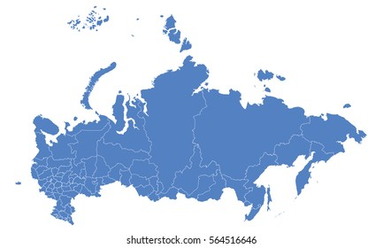 Russia map blue color