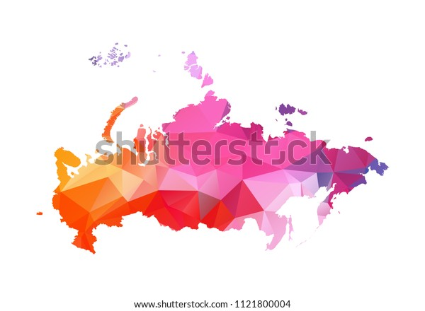 russia map blue vector illustration in polygonal style on white background. colorful abstract of russia map. Abstract tessellation,modern design background.