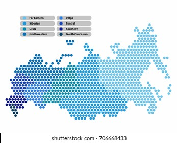 Russia Map of circle shape with the provinces colored in bright colors on white background. Vector illustration dotted style.