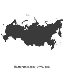 Russia Map in dark gray on a white  background
