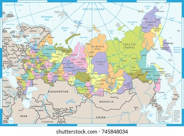 Russia Map - Detailed Vector Illustration