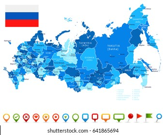 Russia map and flag - highly detailed vector illustration