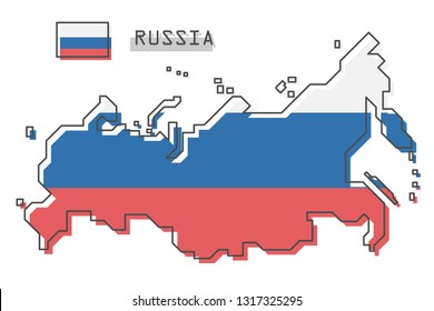 Russia map and flag . Modern simple line cartoon design . Vector .