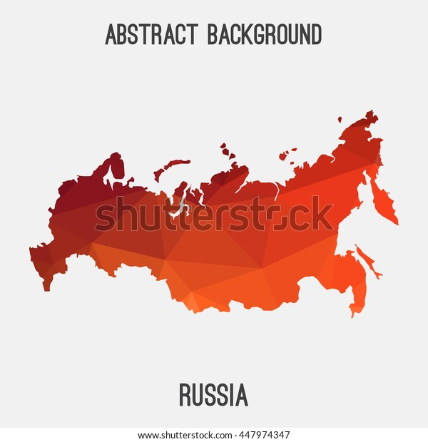 Russia map in geometric polygonal,mosaic style.Abstract tessellation,modern design background. Vector illustration EPS8