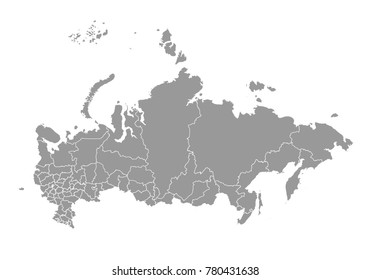 russia map. High detailed map of russia on white background. Vector illustration eps 10.