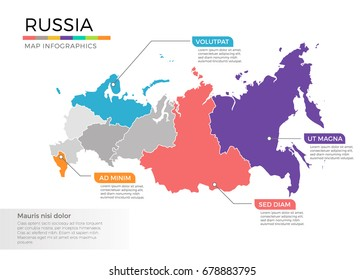 Russia map infographics vector template with regions and pointer marks