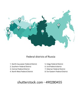 Russia map outline and allocation of federal districts