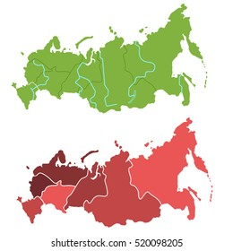 Russia map outline and allocation of federal districts separated layers
