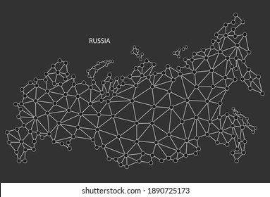 Russia Map Point scales on black background. Wire frame polygonal network white line, dot and shadow dot.
