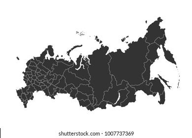 russia map with regions vector flat illustration on white background