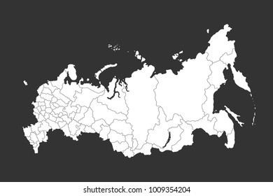russia map with regions vector flat illustration on dark gray background