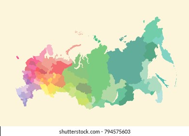 russia map with regions vector flat illustration