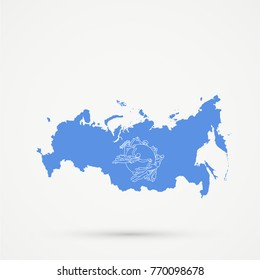 Russia map in Universal Postal Union (UPU) flag colors, editable vector.