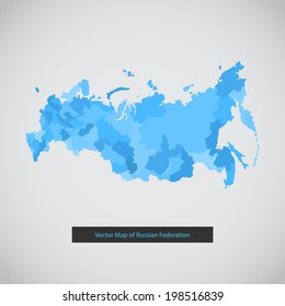 Russia map. Vector background illustration of Russian federation.